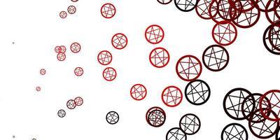 toile de fond de vecteur rose clair, rouge avec des symboles mystérieux.