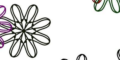 fond de doodle vecteur rose clair, vert avec des fleurs.