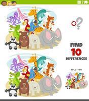 jeu éducatif de différences avec des personnages d'animaux sauvages vecteur