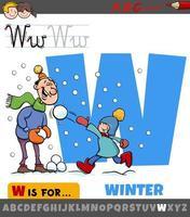 lettre w de l'alphabet avec saison d'hiver vecteur