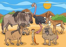 groupe de personnages animaux sauvages africains de dessin animé vecteur