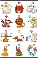 signes du zodiaque horoscope sertis de personnages de chiens de bande dessinée vecteur