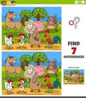 jeu éducatif de différences avec des personnages d'animaux de la ferme vecteur