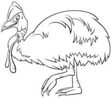 casoar, oiseau, animal, caractère, dessin animé, livre coloration, page vecteur