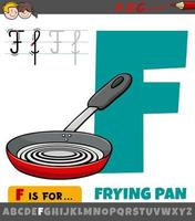 feuille de calcul lettre f avec poêle à frire de dessin animé vecteur