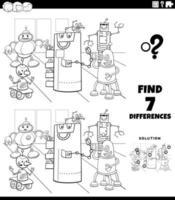 Jeu éducatif de différences avec la page de livre de coloriage de robots
