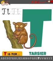 feuille de calcul lettre t avec tarsier de dessin animé