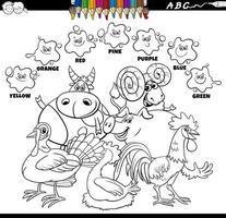 livre de couleurs de couleurs de base avec des personnages d'animaux de la ferme vecteur