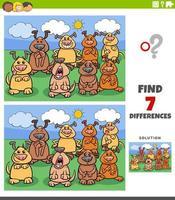 jeu éducatif de différences avec des chiens de bande dessinée