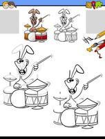 dessin et coloriage avec lapin jouant de la batterie vecteur