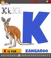 lettre k de l'alphabet avec animal kangourou de dessin animé vecteur