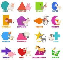 formes géométriques de base avec ensemble d'animaux de ferme fanny vecteur
