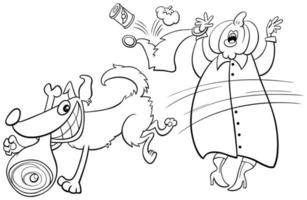 dessin animé, chien, voler, jambon, depuis, vieille dame, livre coloration, page vecteur