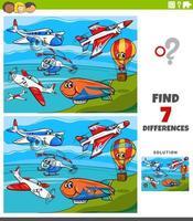jeu éducatif des différences avec des avions et des machines volantes vecteur