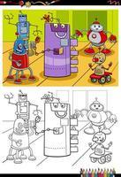 dessin animé, robot, caractères, livre coloration, page vecteur