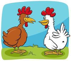 dessin animé, deux poules, ferme, oiseaux, caractères, conversation vecteur