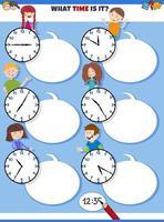 dire le temps tâche éducative avec les enfants de dessin animé vecteur