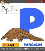lettre p de l'alphabet avec caractère animal pangolin vecteur