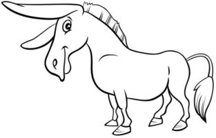 dessin animé, âne, animal ferme, livre coloration, page vecteur