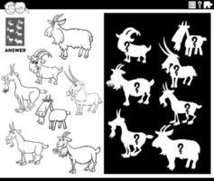 Jeu de formes assorties avec page de livre de coloriage de chèvres vecteur