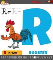 feuille de calcul lettre r avec coq de dessin animé vecteur