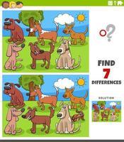 jeu éducatif des différences pour les enfants avec des chiens
