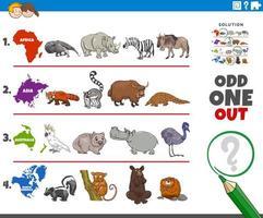étrange jeu d'images avec des espèces d'animaux sauvages vecteur