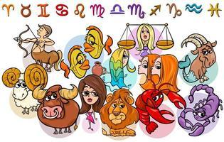 illustration de dessin animé de collection de signes du zodiaque horoscope vecteur