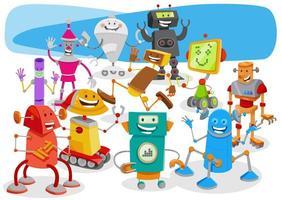 robots drôles dessin animé groupe de personnages fantastiques vecteur