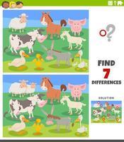 tâche éducative des différences avec des animaux de ferme de dessin animé vecteur