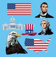 affiche de la fête des présidents heureux avec des icônes