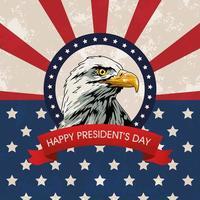 affiche de la fête des présidents heureux avec drapeau aigle et usa