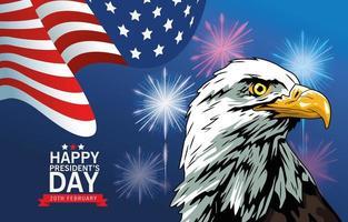 affiche de la fête des présidents heureux avec drapeau aigle et usa vecteur