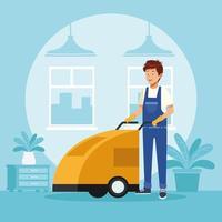 homme de ménage travailleur avec chariot de toilettes vecteur