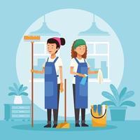 femmes de ménage avec des outils vecteur