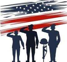 Officiers militaires silhouette avec casque sur fusil vecteur