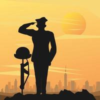 Officier militaire avec casque sur fusil sur scène de coucher de soleil vecteur