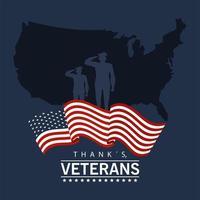 bonne journée des anciens combattants avec des officiers militaires et carte des états-unis