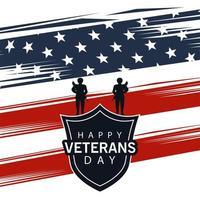 bonne journée des anciens combattants lettrage avec bouclier et soldats sur fond de drapeau usa vecteur