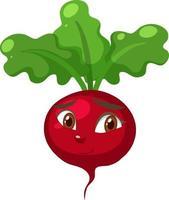 Personnage de dessin animé de radis avec expression de visage confus sur fond blanc vecteur