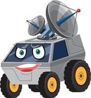 personnage de dessin animé de vaisseau spatial avec expression de visage sur fond blanc