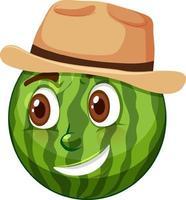 personnage de dessin animé de pastèque avec expression faciale