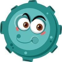 Personnage de dessin animé d'astéroïde avec une expression de visage heureux sur fond blanc vecteur