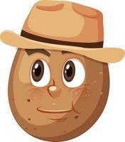 personnage de dessin animé de pomme de terre avec expression faciale vecteur