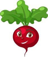 personnage de dessin animé de radis avec une expression de visage heureux sur fond blanc vecteur