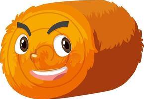 Personnage de dessin animé de balle de foin rond avec expression faciale vecteur