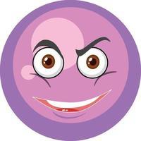 personnage de dessin animé de sphère avec expression de visage sur fond blanc vecteur