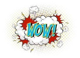 mot wow sur fond d'explosion de nuage comique