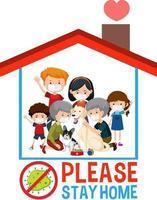 rester à la maison rester en sécurité avec une famille heureuse