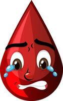goutte de sang rouge avec expression faciale vecteur